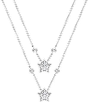Diamond 1/8 ct. t.w. Double Drop Star Necklace in Sterling Silver