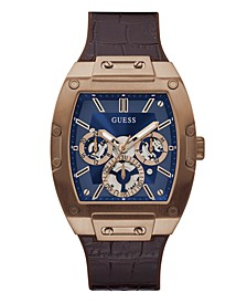 Men's Multi-Function Rose Gold-Tone Brown Leather Silicone Strap Watch 45mm