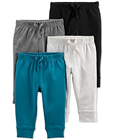 Baby Boys 4-Pack Solid-Tone Pull-On Pants