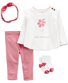 Baby Girl 4-Piece Hello Beautiful Outfit Set