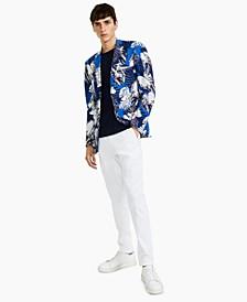 Men's Slim-Fit Blue/White Floral-Print Blazer