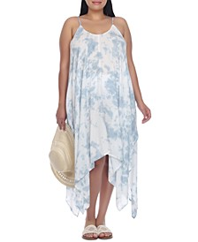 Plus Size Tie-Dyed Handkerchief-Hem Cover-Up Dress
