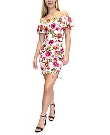Juniors' Printed Ruffled-Neck Dress