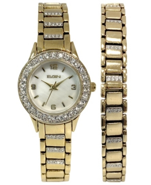 Women's Ion Plating Logo Etched On Crown Gold-Tone Strap Watch and Bracelet Set