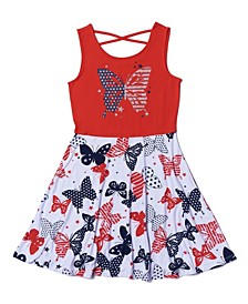 Big Girls Americana All Over Print Skater Tank Dress