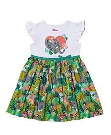 Toddler Girls Flutter Sleeve All Over Print Tutu Dress