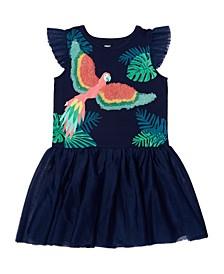 Toddler Girls Flutter Sleeve Graphic Tutu Dress