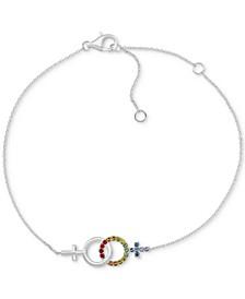 Rainbow Crystal Girlfriends Link Bracelet in Sterling Silver