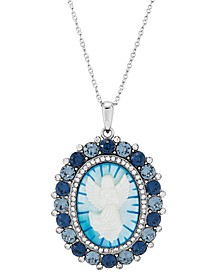 """Dyed Mother-of-Pearl & Crystal Angel Halo 18"""" Pendant Necklace in Sterling Silver"""