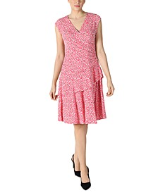 Petite Printed Fit & Flare Dress
