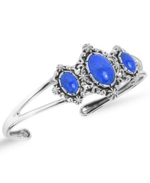 by Carolyn Pollack Three Denim Lapis Gemstones Cuff Bracelet in Sterling Silver