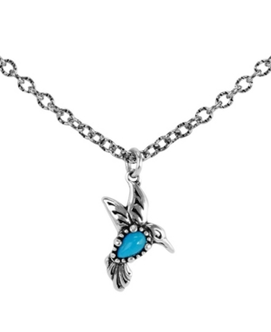 by Carolyn Pollack Turquoise Gemstone Hummingbird Necklace in Sterling Silver