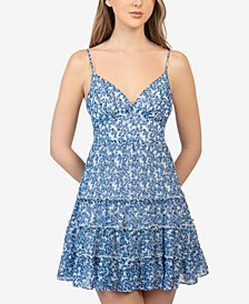 Juniors' Floral-Print Tiered Dress