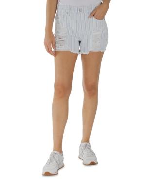 Juniors' Striped High-Rise Distressed Frayed-Hem Shorts