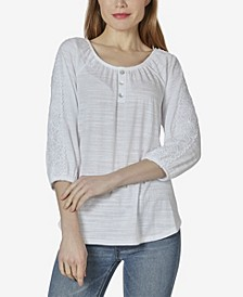 Women's Peasant Top with Lace Chrochet Henley