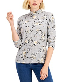 Petite Floral Mock-Neck Top, Created for Macy's