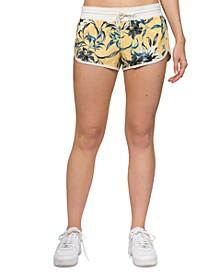 Juniors' Printed Dolphin-Hem Shorts
