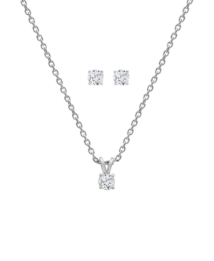 2-Pc. Set Lab-Created Diamond Solitaire Pendant Necklace & Matching Stud Earrings (1 ct. t.w.) in Sterling Silver