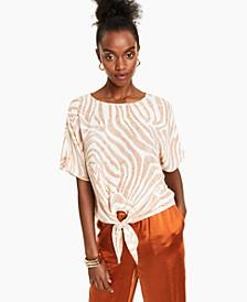 Tie-Front Zebra Top, Created for Macy's