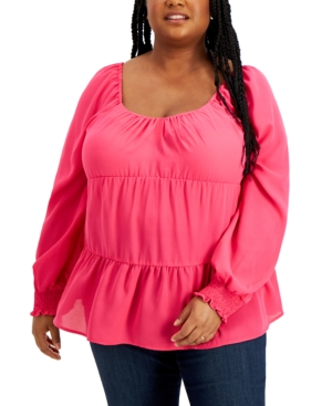 Trendy Plus Size Tiered Smocked-Cuff Top