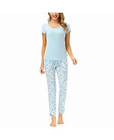 Women's Short Sleeve Scoop Neck Tee with Douphin Pant Set