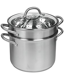 Pro Stainless Steel 8-Qt. Covered Multi-Cooker with Pasta Insert & Steamer Basket