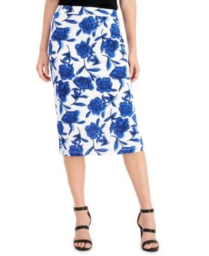 Floral-Print Side-Slit Skirt