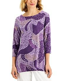 Petite Dot-Print 3/4-Sleeve Jacquard Top, Created for Macy's