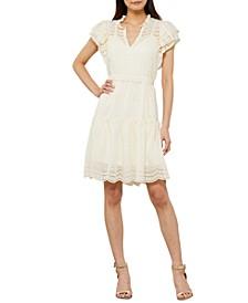Eyelet Flutter-Sleeve Day Dress