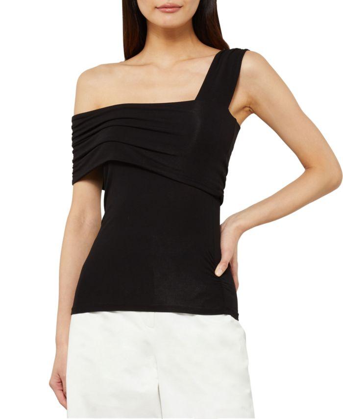 BCBGMAXAZRIA Asymmetrical Off-The-Shoulder Overlay Top & Reviews - Tops - Women - Macy's