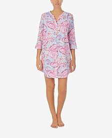 Women's Button Front Sleep Shirt with Soft Ruffle Sleeve