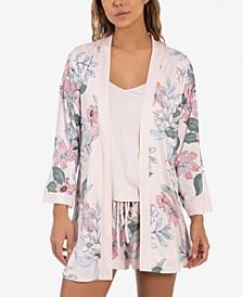 Floral-Print Wrap Robe, Cami & Shorts Pajama Set