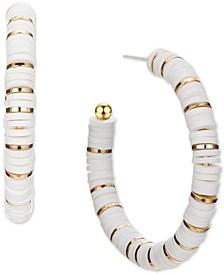 Gold-Tone Medium Disc-Beaded Open Hoop Earrings, Created for Macy's