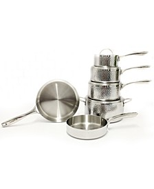 Hammered 10 Piece 3-Ply Stainless Steel Cookware Set