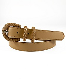 Leather Belt with Braided Buckle Keepers