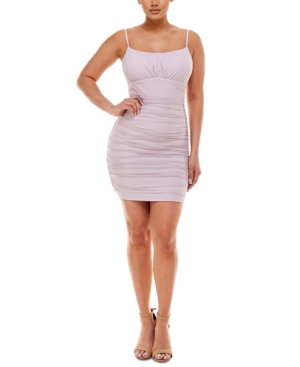 Juniors' Ruched Mesh Bodycon Dress