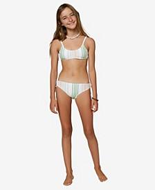 Big Girls Beach Stripe Scoop Bralette Set