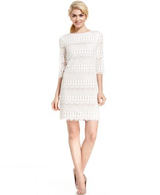 Jessica Howard Petite Three-Quarter-Sleeve Crochet Lace Shift ...