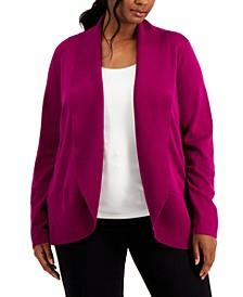 Plus Size Shawl-Collar Curved-Hem Cardigan, Created for Macy's