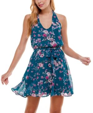 Juniors' Floral-Print Halter Fit & Flare Dress