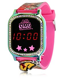 Omg Kid's Touch Screen Pink Silicone Strap LED Watch, with Hanging Charm 36mm x 33 mm