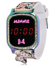 Minnie Mouse Kid's Touch Screen White Silicone Strap LED Watch, with Hanging Charm 36mm x 33 mm