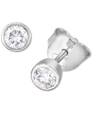 Lab-Created Diamond Bezel Stud Earrings (1/3 ct. t.w.) in Sterling Silver