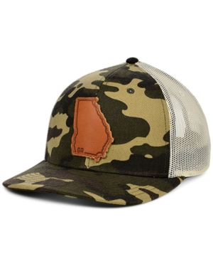 Local Crowns Georgia Woodland Leather State Patch Curved Trucker Cap