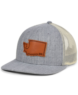 Local Crowns Washington Heather Leather State Patch Curved Trucker Cap