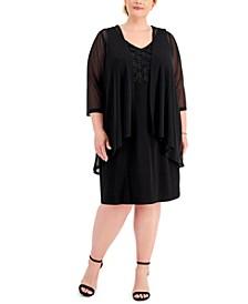 Plus Size Dress & Chiffon Jacket Set