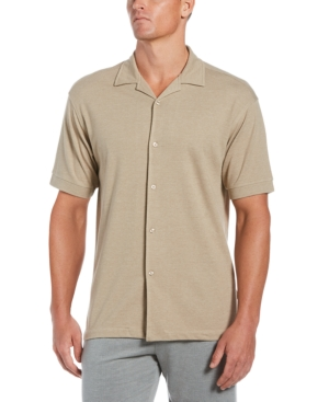 Men's Heathered Double-Knit Camp Shirt