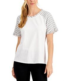 Petite Tweed-Trim T-Shirt, Created for Macy's