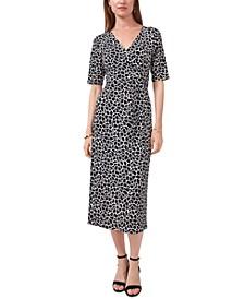 Printed Faux-Wrap Midi Dress