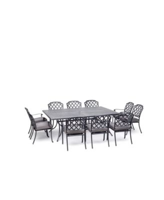 """Vintage II Outdoor 11-Pc. Dining Set (84"""" X 60"""" Table & 10 Dining Chairs) With Outdura® Cushions, Created for Macy's"""